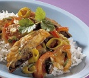 Eten Recept Vis Roergebakken makreel prei paprika