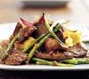 eten recepten vlees Hertenbiefstuk kastanjechampignons aspergepunten
