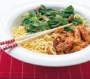 receptenvandaag sweet chilireepjes met spinazie en noedels