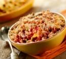 1 macaroni uit de oven met gehakt, erwtjes, gele paprika en champignons