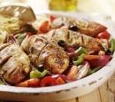 7 gegrilde kip in pesto met geroosterde groenten