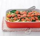 1 tagliatelleschotel met spinazie en cherrytomaten