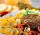 12 rundvleesburgers met gebakken ui en paprika