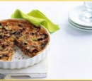 24 hartige taart met bospaddestoelen en spekreepjes